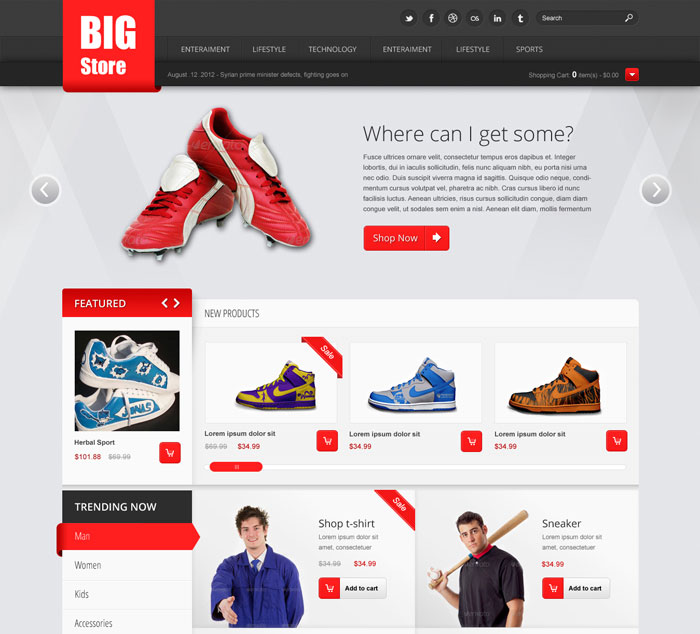 19 big store free ecommerce psd website template