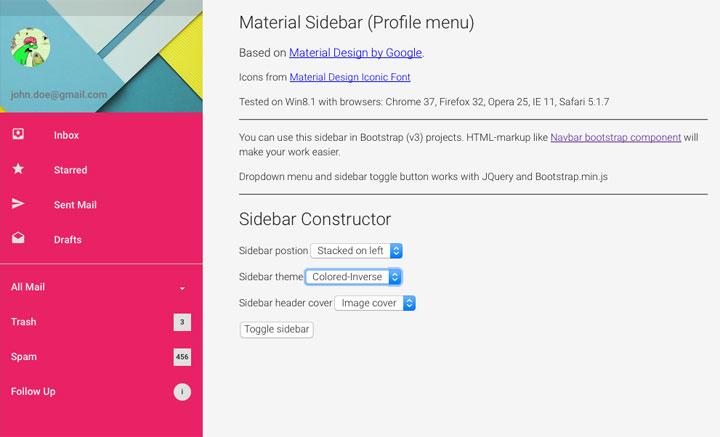 Material-Desig-Sidebar-Profile-menu