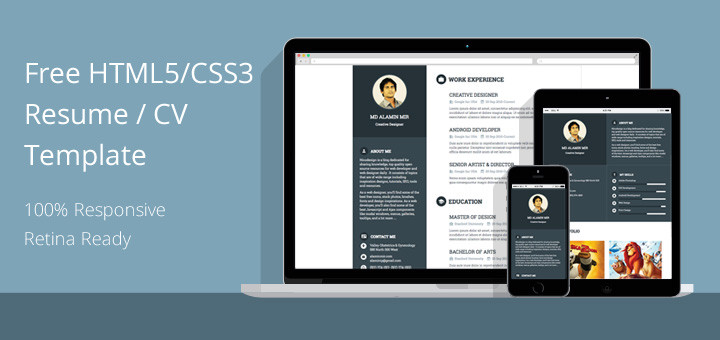 free html5 css3 resume-cv template