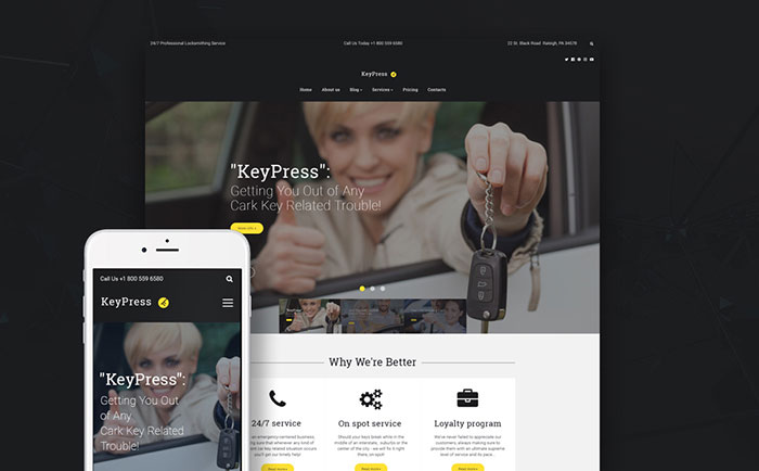 Car Key Replacement Service WordPress Theme